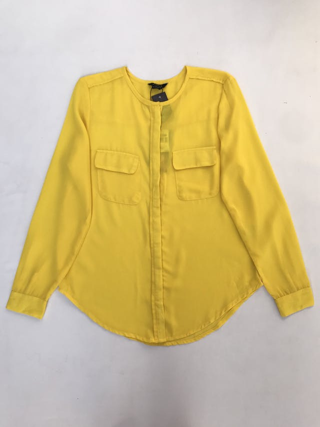 Blusa Marquis de gasa amarilla, con botones y bolsillos delanteros. Nuevo con etiqueta foto 1