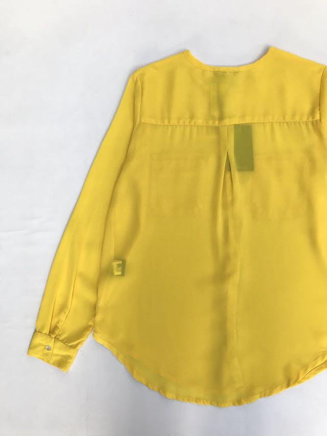 Blusa Marquis de gasa amarilla, con botones y bolsillos delanteros. Nuevo con etiqueta foto 2