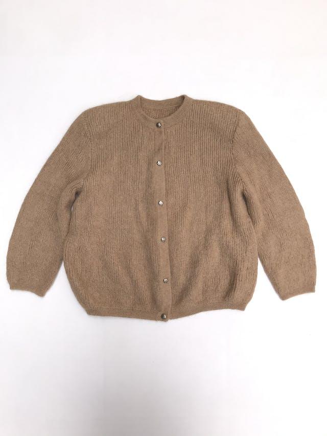Cardigan vintage camel textura trenzada delgada con botones plateados delanteros, maga 3/4 foto 1