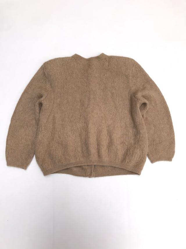 Cardigan vintage camel textura trenzada delgada con botones plateados delanteros, maga 3/4 foto 3