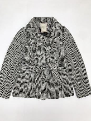 Abrigo Navigata crema y negro 50% lana, forrado, con cinto, botones y bolsillos delanteros foto 3