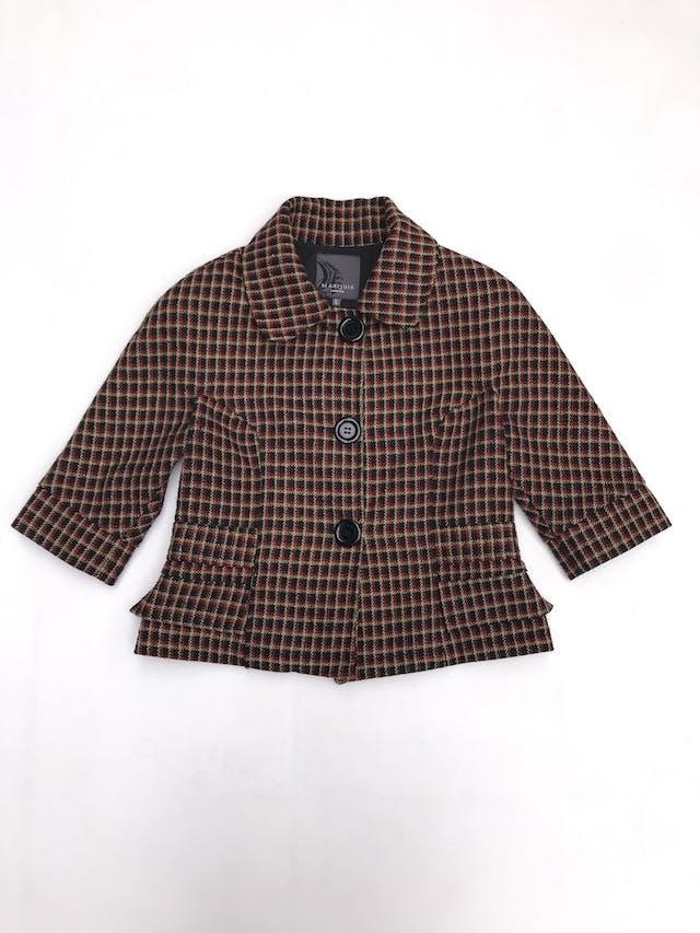 Abrigo corto Marquis a cuadros negros, amarillos y rojos, 20% lana, forrado, manga 3/4 foto 1