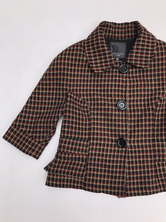 Abrigo corto Marquis a cuadros negros, amarillos y rojos, 20% lana, forrado, manga 3/4 foto 2