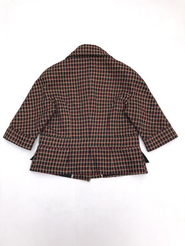 Abrigo corto Marquis a cuadros negros, amarillos y rojos, 20% lana, forrado, manga 3/4 foto 3