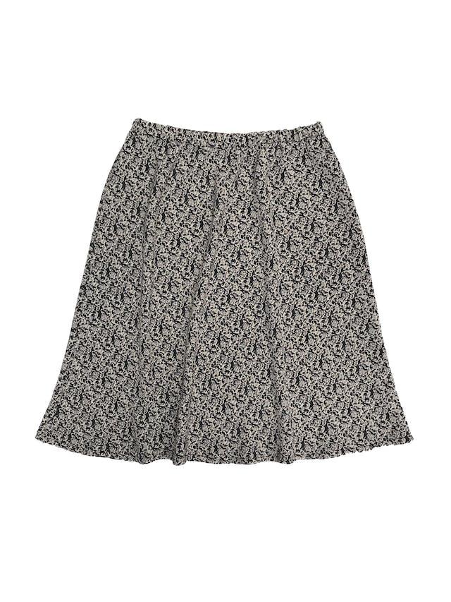 Falda vintage negra con estampado beige, tela plana, elástico en la cintura y línea en A. Largo 60cm foto 1