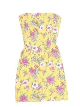 Vestido strapless Ralph Lauren 96% algodón, amarillo con estampado de flores, con barbas y cierre posterior. Precio original S/ 320. Busto 80 cm, cintura 68 cm, largo desde sisa 70 cm.. foto 1