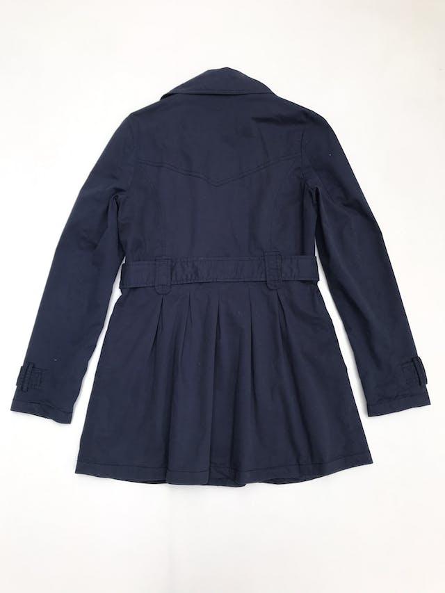 Abrigo azul 100% algodón, forrado, con cinto y bolsillos foto 2