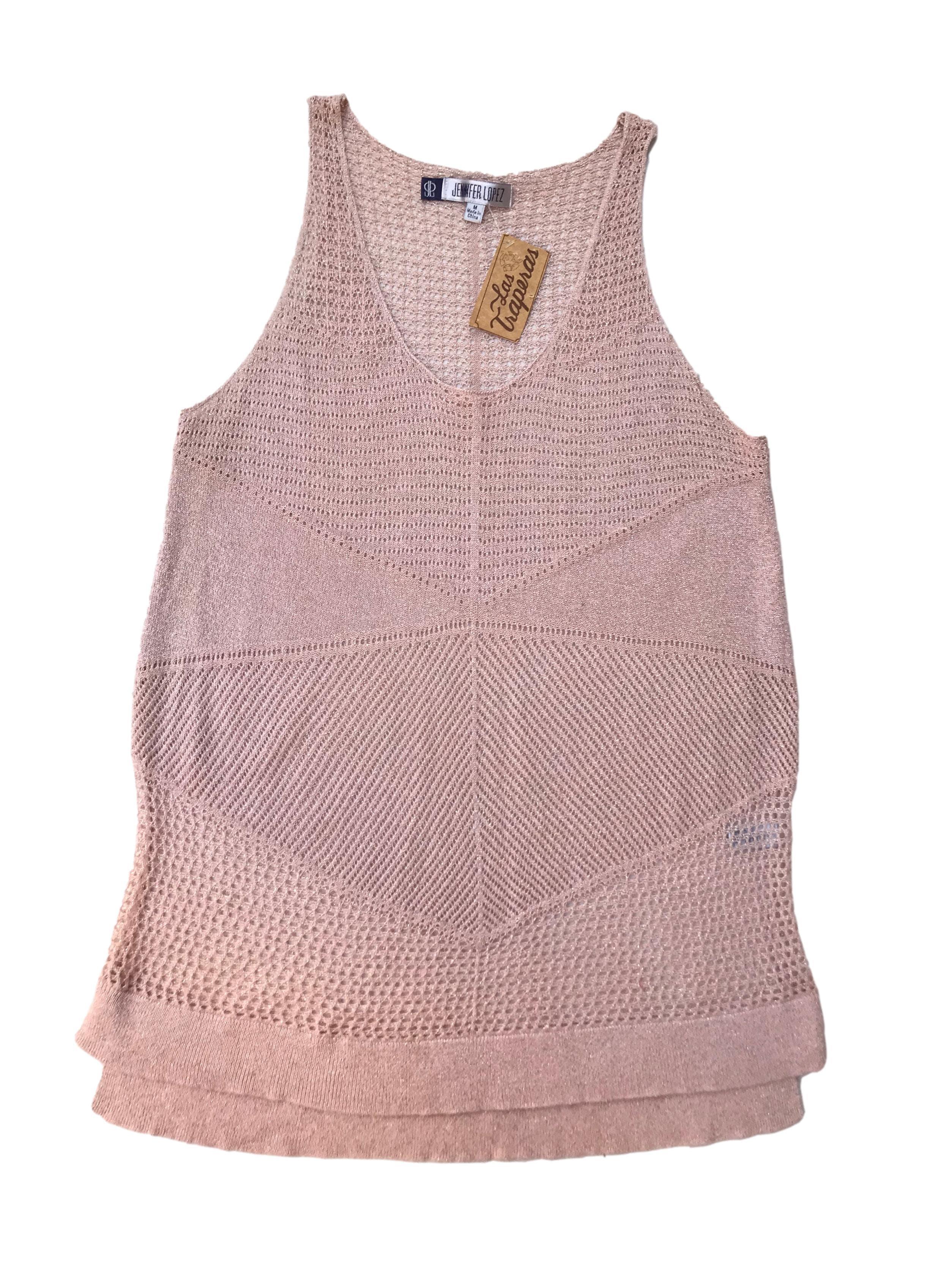 Polo Jennifer Lopez tejido calado palo rosa con hilos dorados. Largo 65 - 70cm
