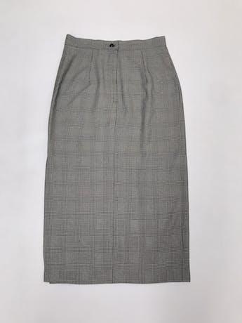 Falda vintage 3/4 príncipe de gales crema y negro, abertura lateral, cierre y botón posterior. ¡Muy cool! Cintura 72cm Largo 82cm foto 3