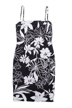 Vestido Zara 97% algodón negro con estampado de flores negras, forrado, con cierre posterior. Busto 89cm Cintura 74cm Largo 100cm  foto 1