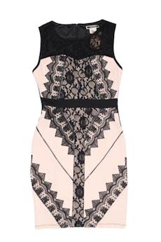 Vestido beige con aplicaciones de encaje negro , forrado, con cierre posterior, ligeramente stretch. Largo 90cm foto 1