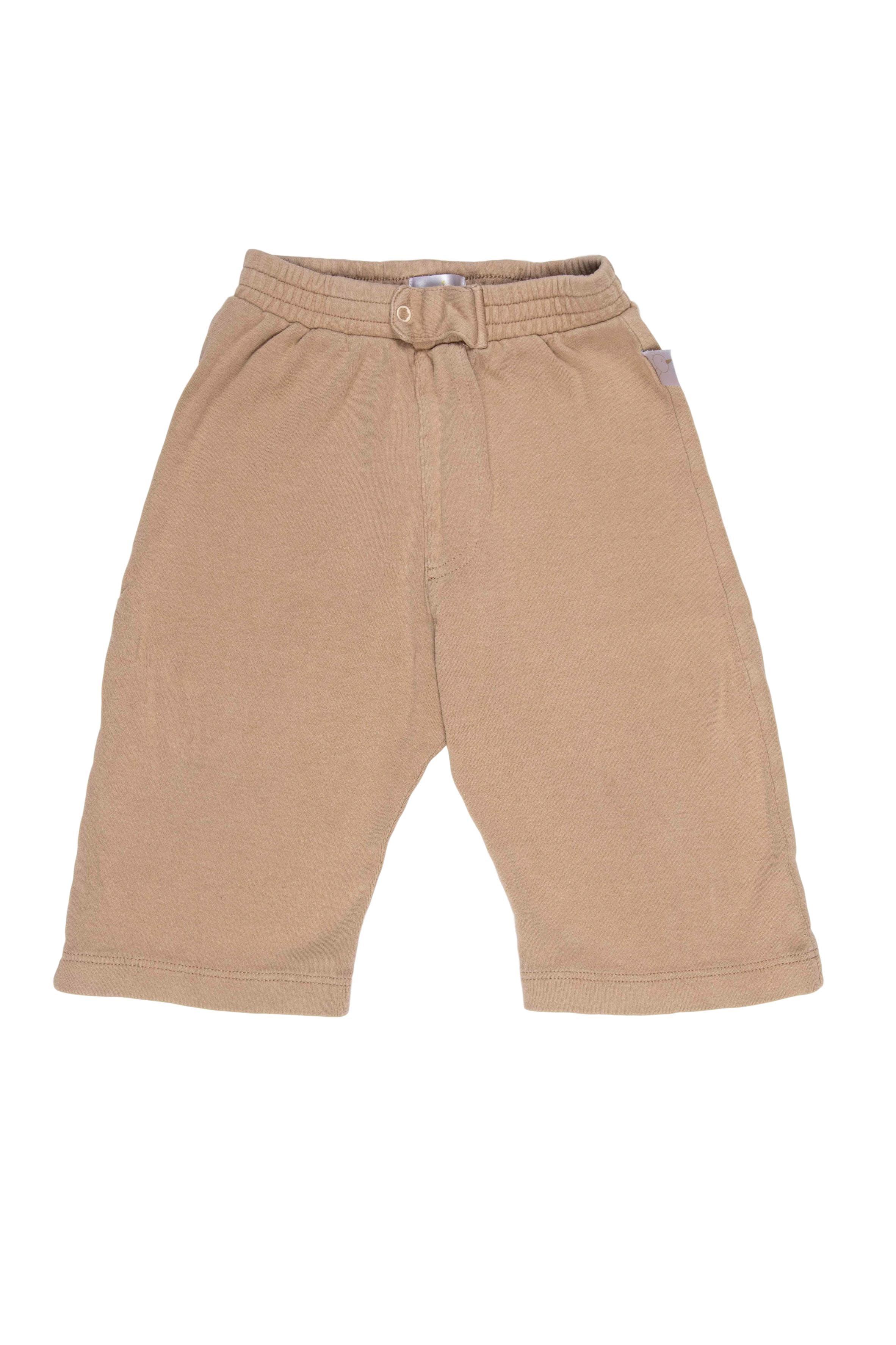 Pantalón marrón claro de algodón, broche delantero, suelto y corto. - Baby Zoo