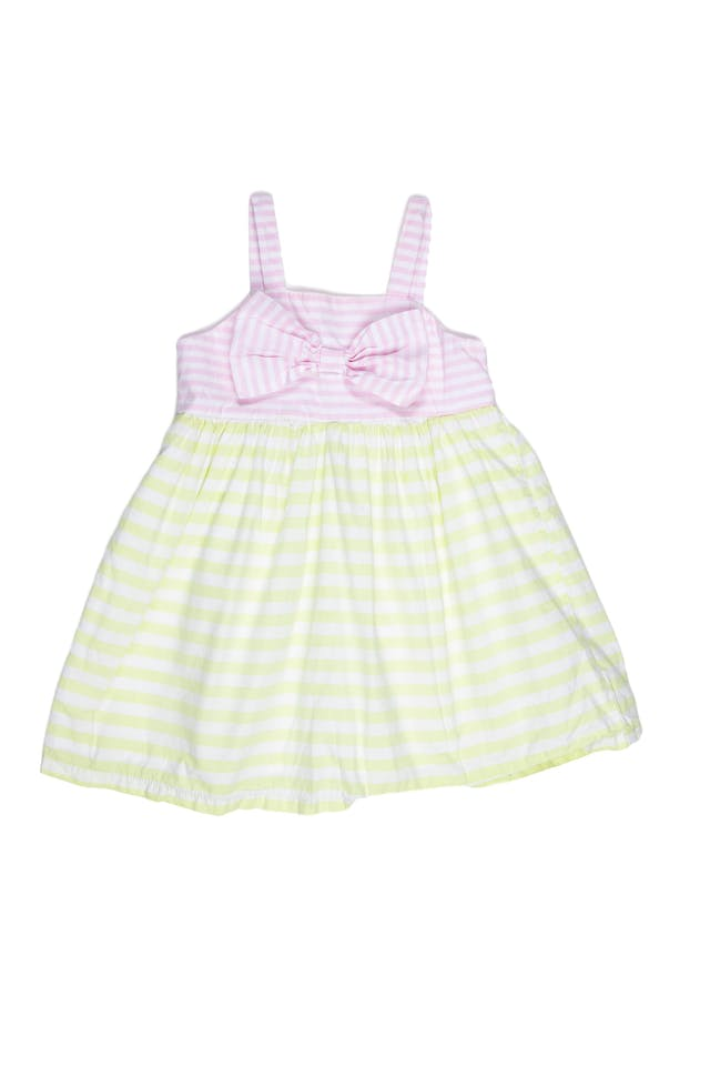 Vestido de tiras, rayas blanco, rosa y verde pastel, 100% algodón, forrado aplicación de lazo - Cat & Jack foto 1