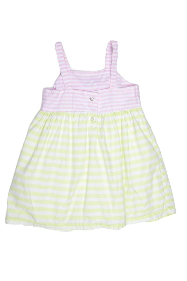 Vestido de tiras, rayas blanco, rosa y verde pastel, 100% algodón, forrado aplicación de lazo - Cat & Jack foto 2