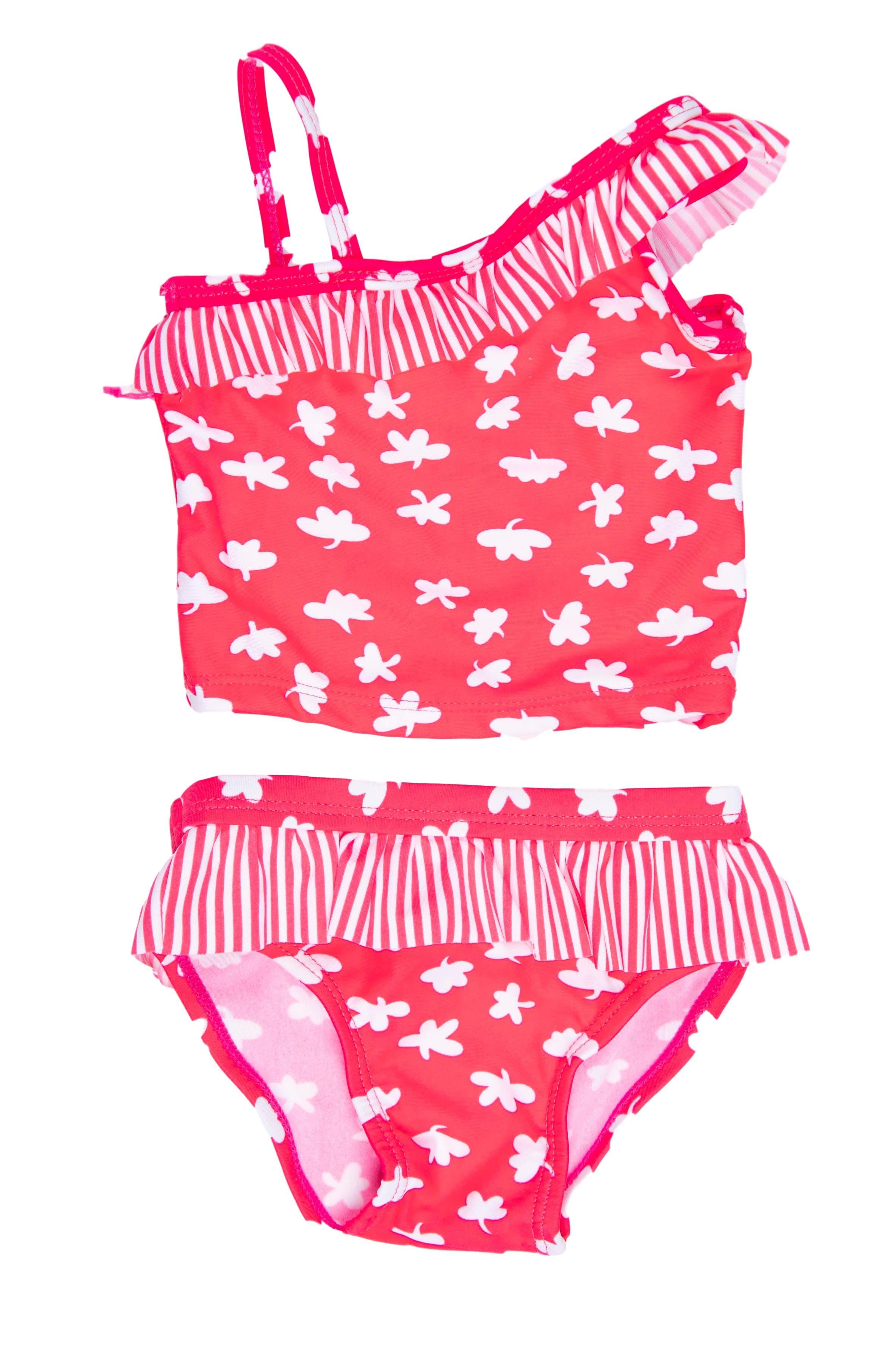 Ropa de baño dos partes, top y calzón rosado con blanco. Etiqueta dice 6 - 9 pero es pequeño - Little Step