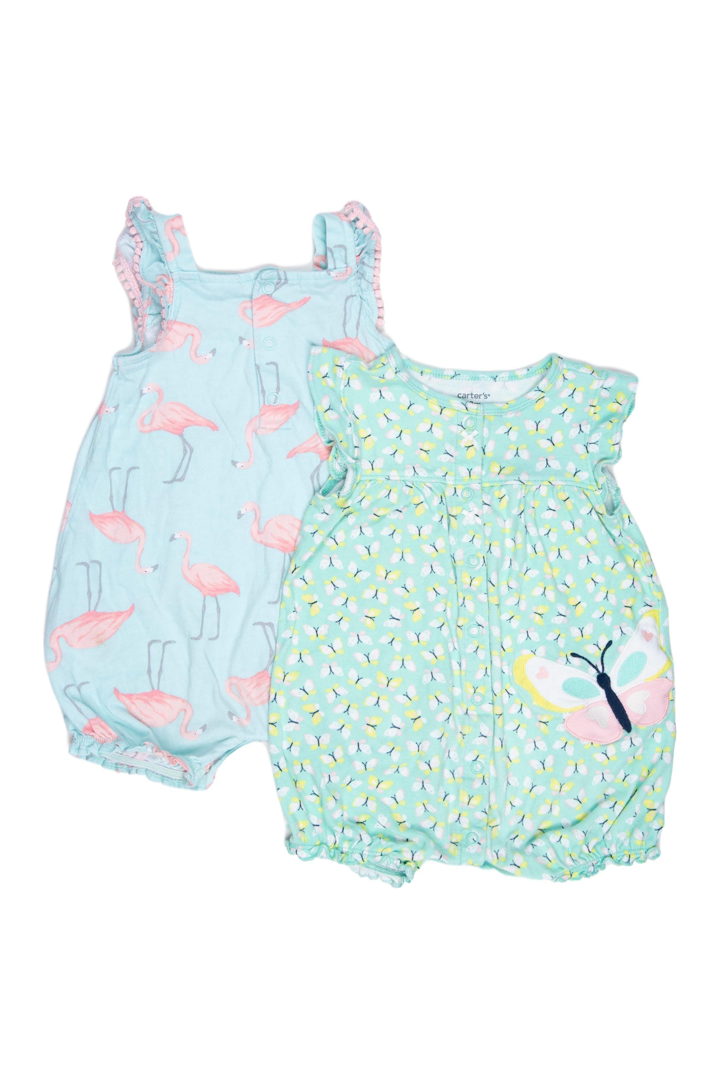 Pack de 2 enterizos, uno estampado de flamingo fondo turquesa y otro de mariposas fondo verde agua. Ambos 100% algodón - Carter's