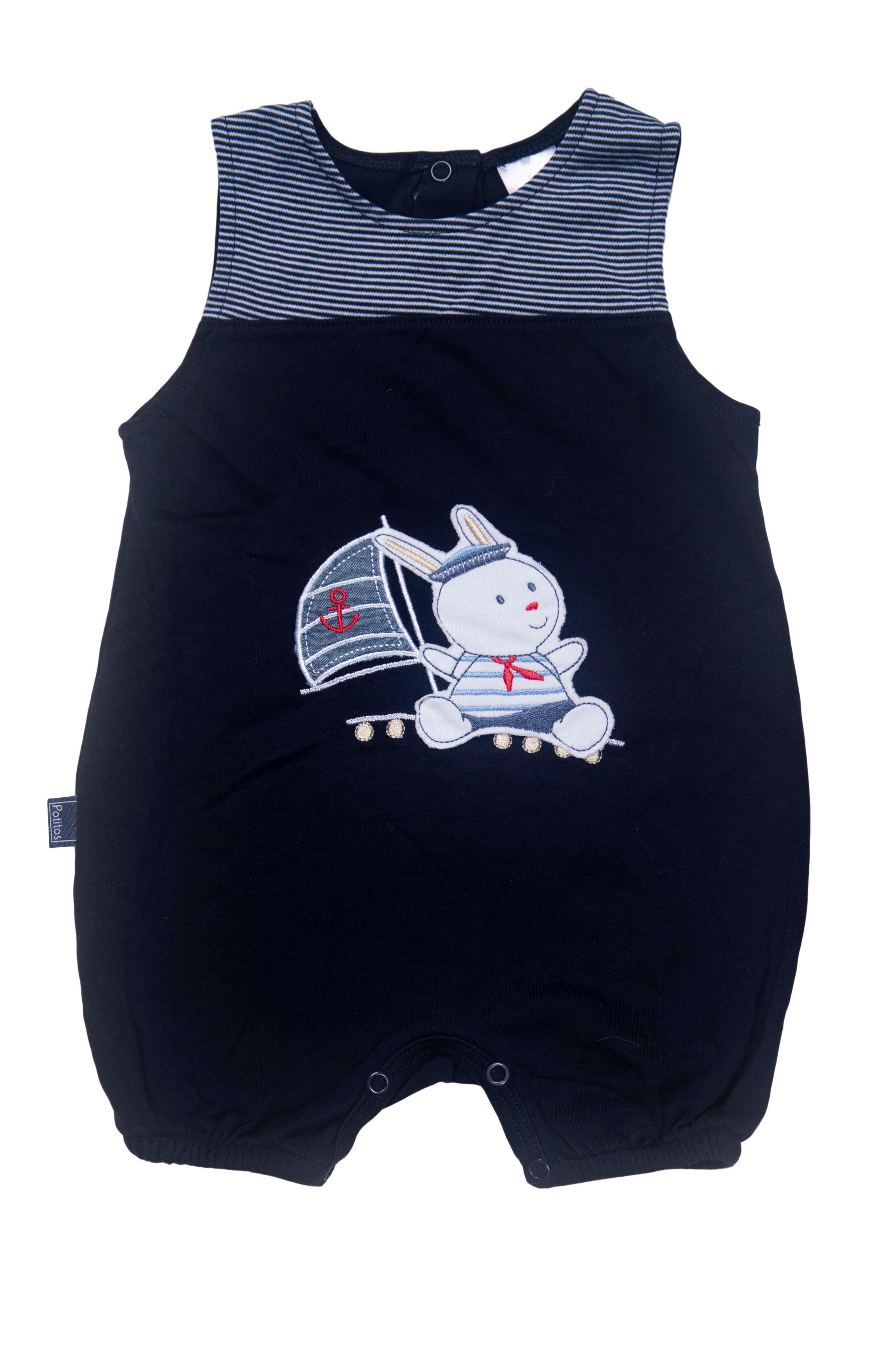 enterizo azul oscuro conejo marinero 100% algodon - Potitos
