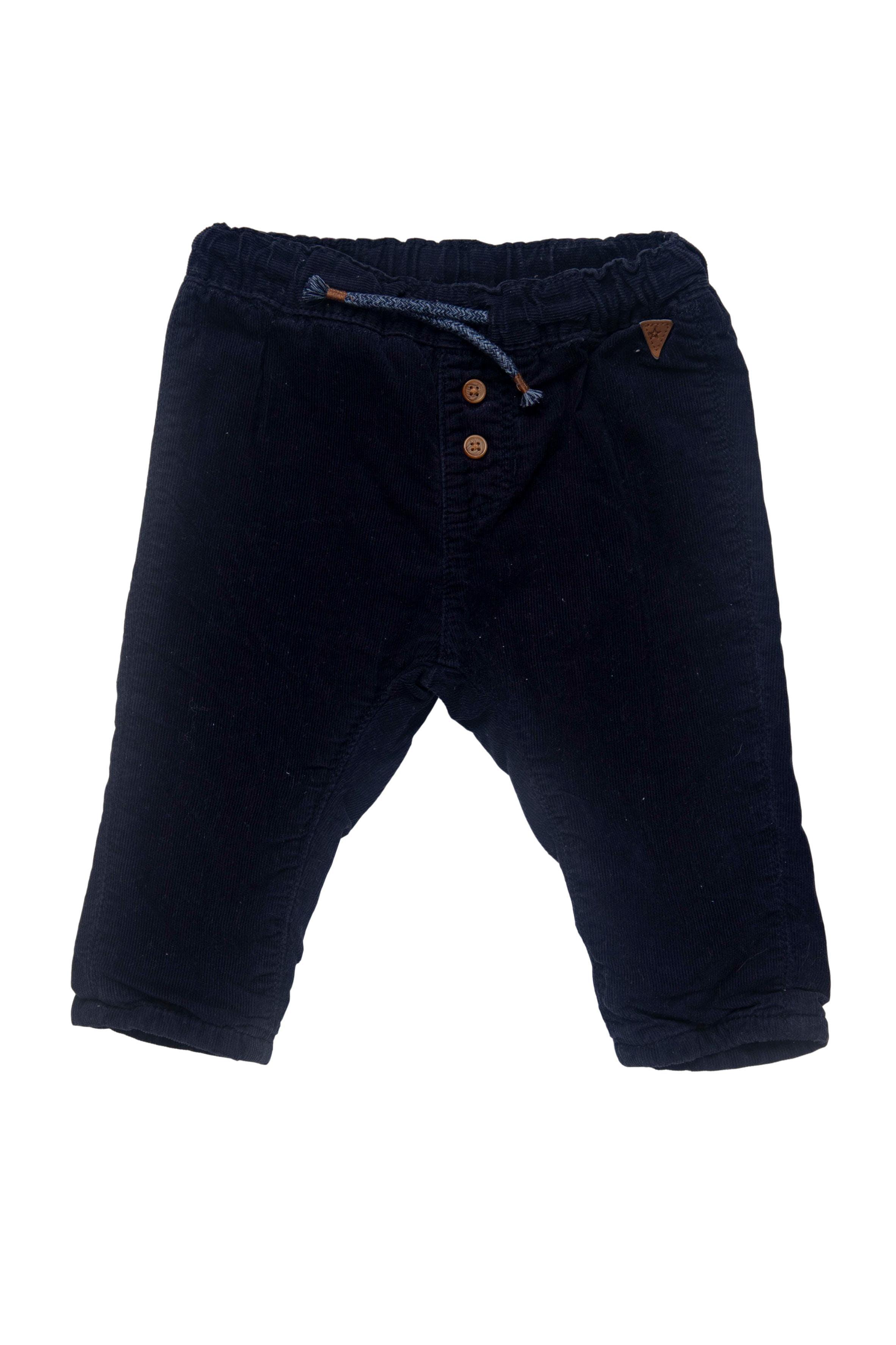 pantalón corderoy delgado 100% algodon, forro 85% algodon, con elastico en la cintura y cinta para ajustar, azul oscuro - H & M