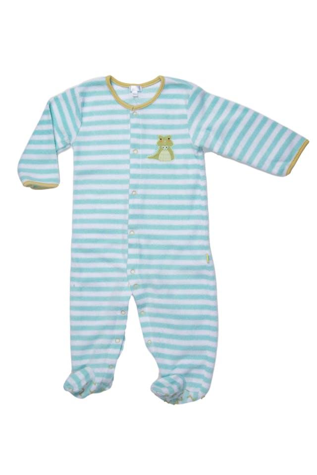 pijama manga larga con pie, polar, rayado verde y blanco - Yamp foto 1