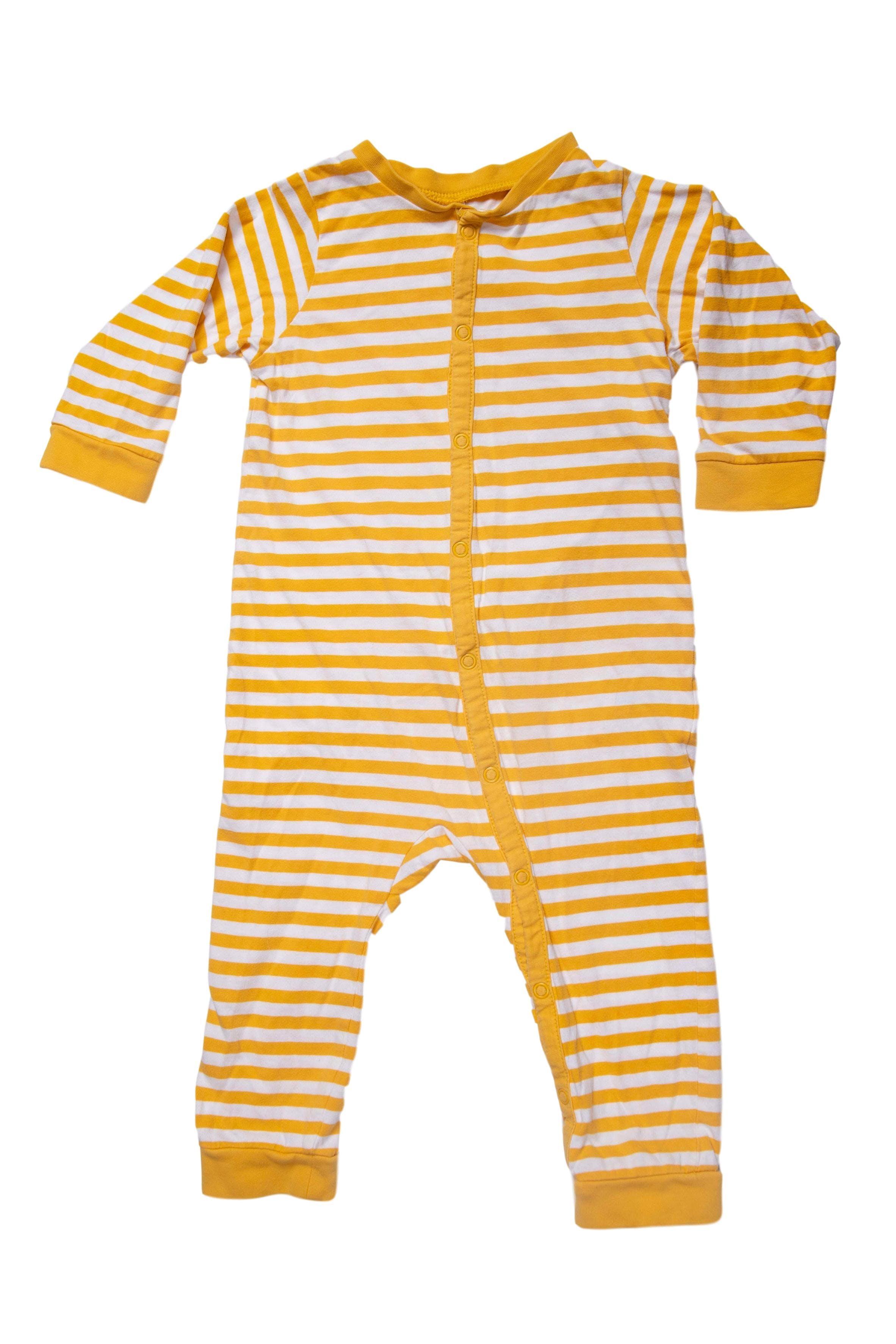 pijama manga larga, algodón, rayado amarillo y blanco - H & M