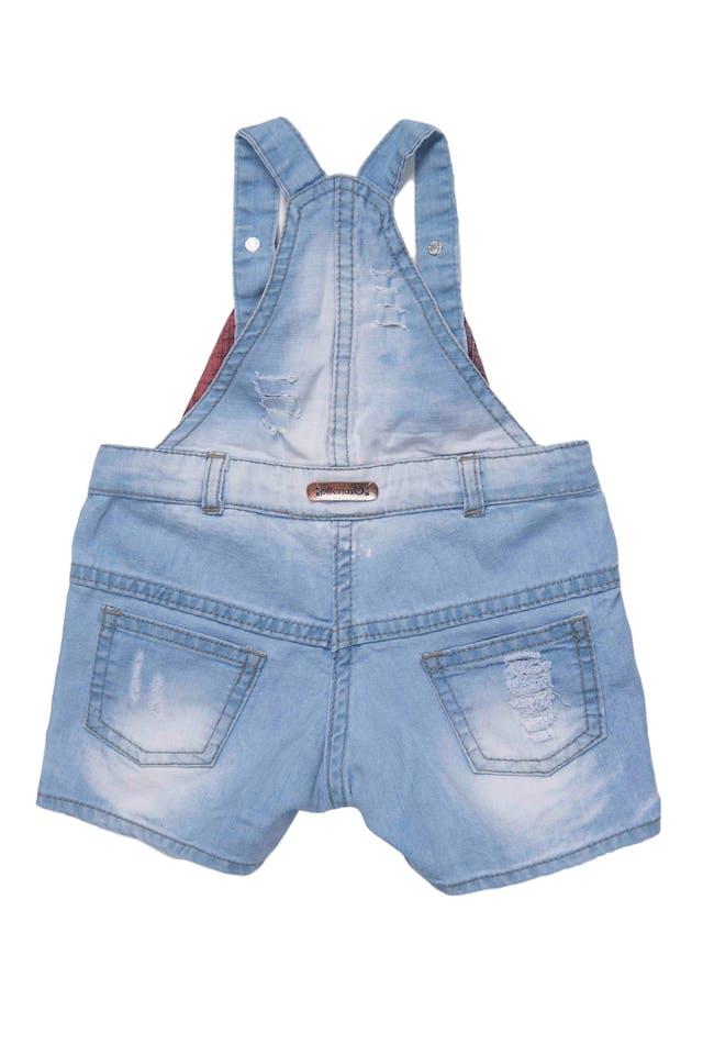 overall short de jean, 78% algodon, tela delgada - Pillerias foto 2