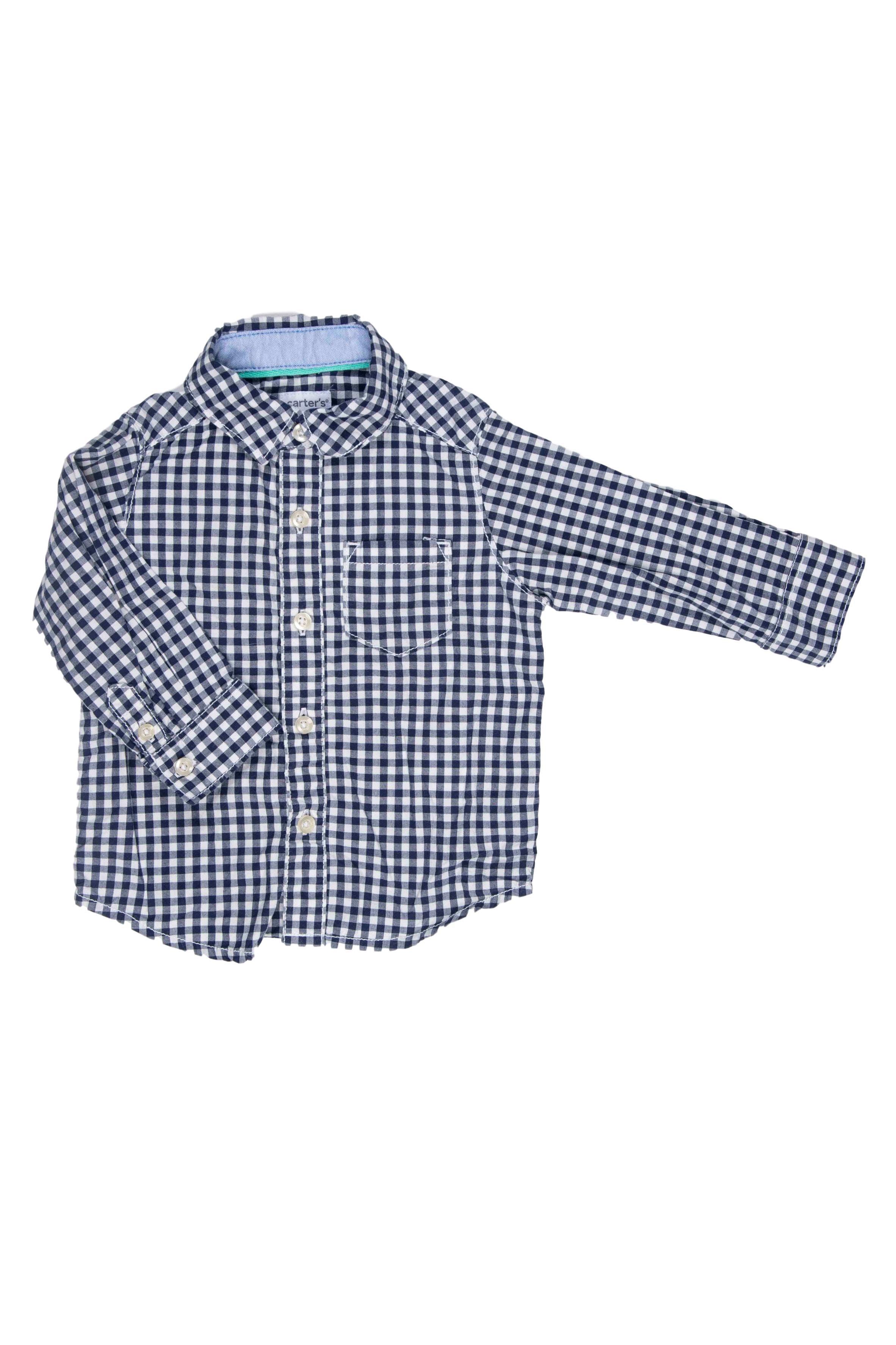 Camisa a cuadros azul y blanco, 100% algodón - Carter's