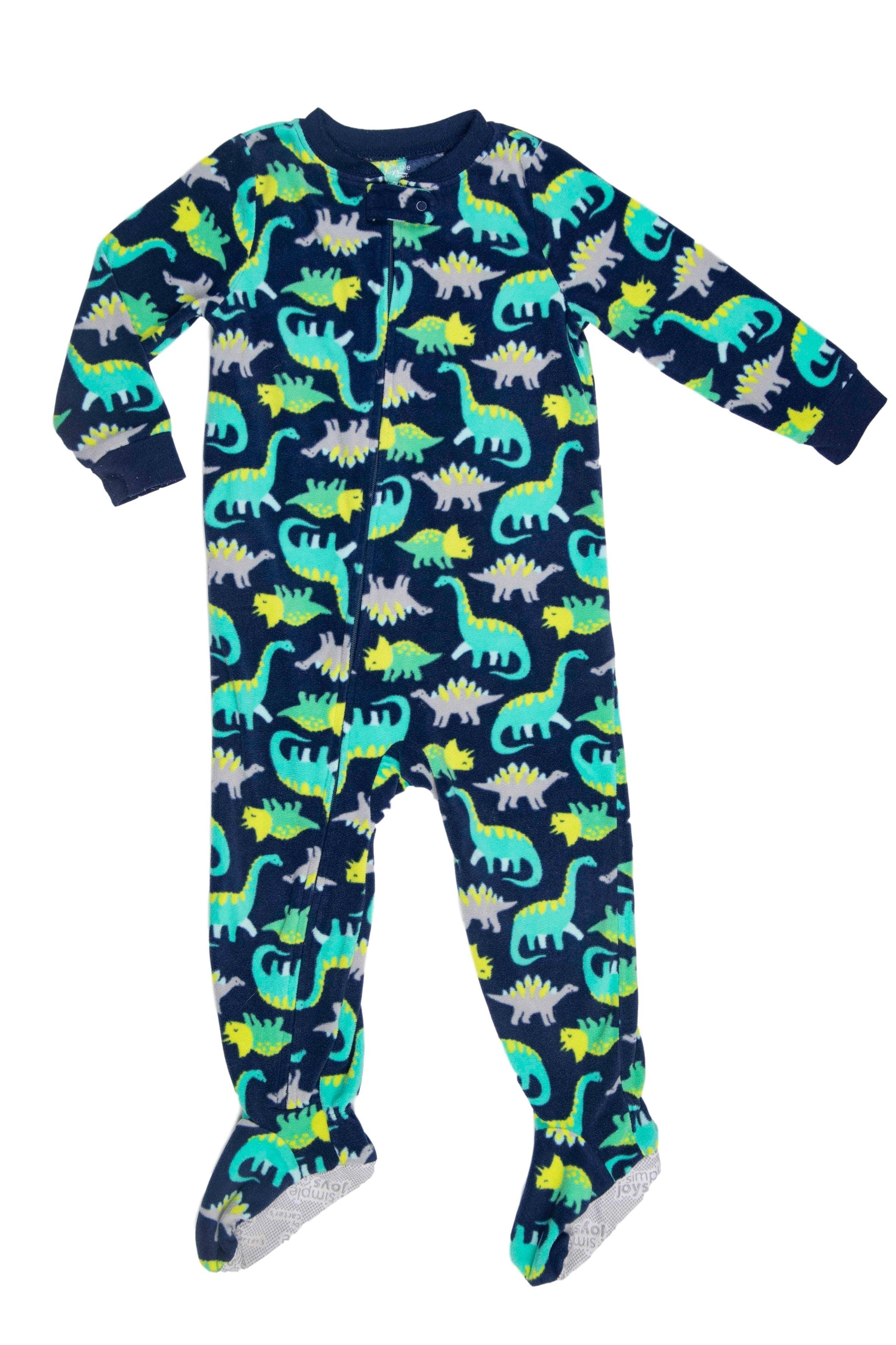 Pijama de polar azul con dinosaurios, suela antideslizante - All Basics