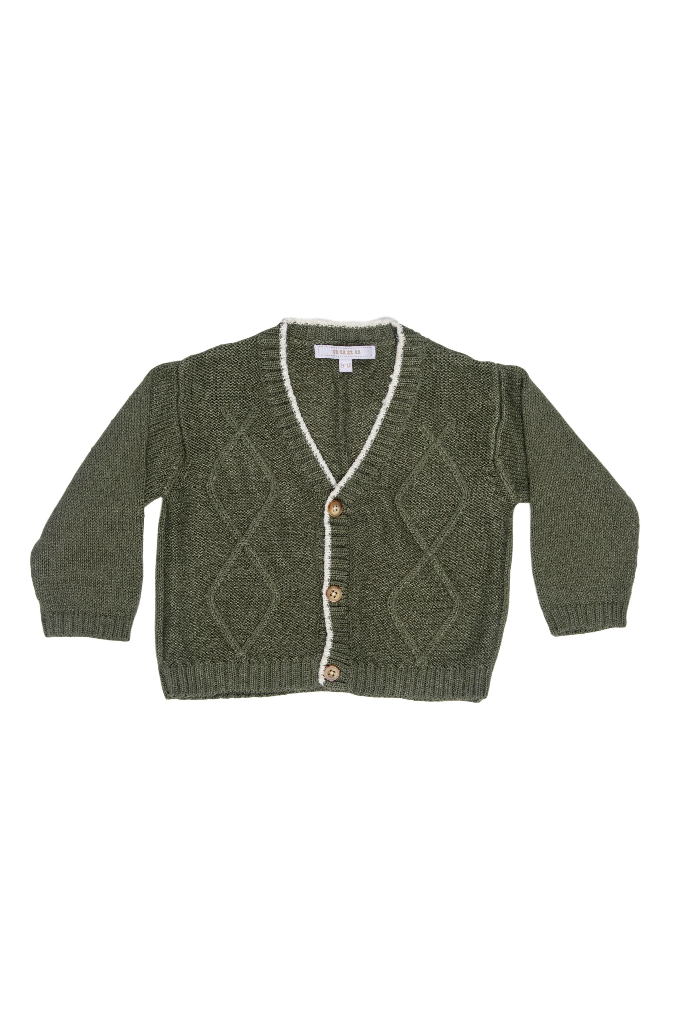 Chompa verde militar tejida 100% algodón - Nunu