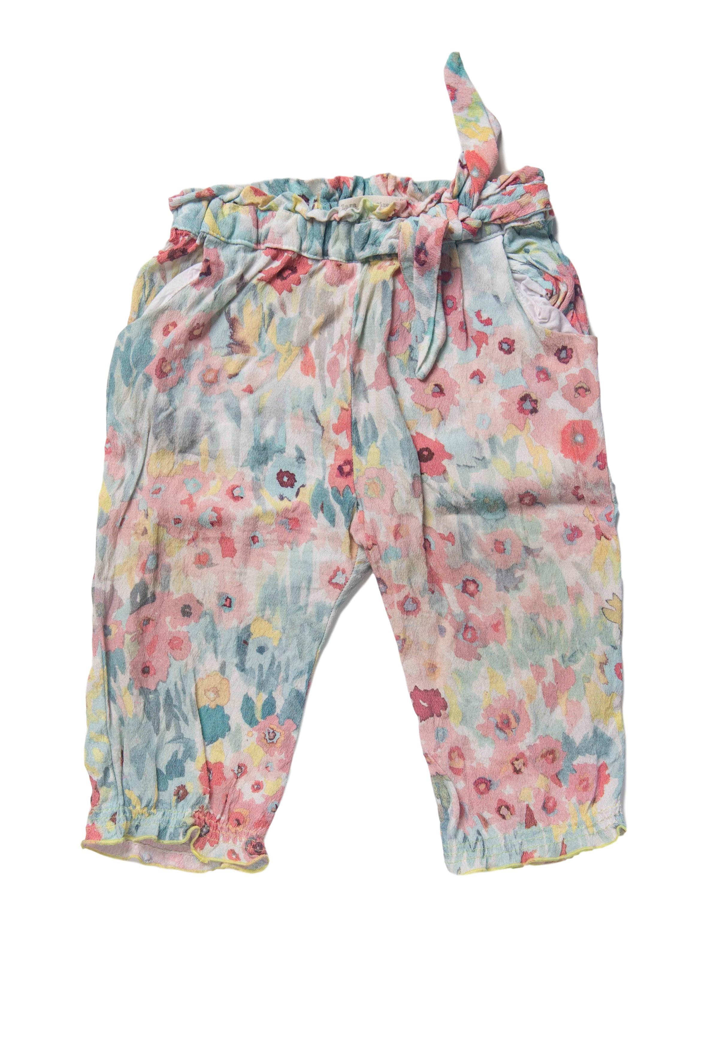 Pantalon de gasa colores pastel, elástico a la cintura y bolsillos - Zara