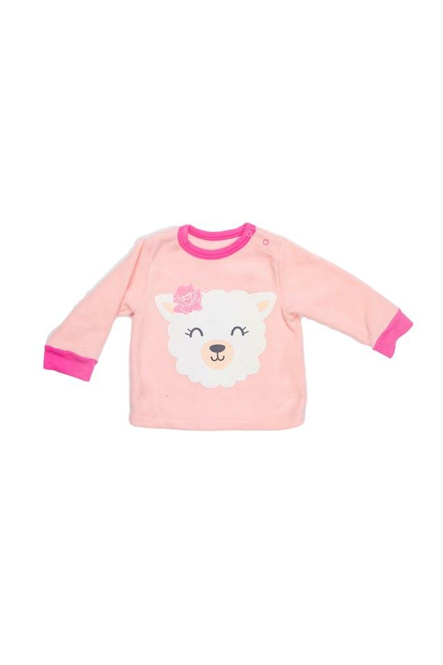 Conjunto rosado de polar, polera con alphaca estampada y pantalón con corazones. - Little Step foto 1