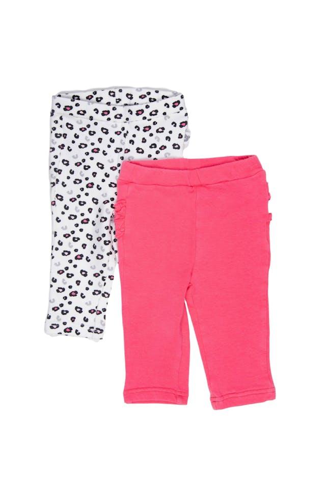 Set de 2 leggings, uno rosado fuerte con detalle en parte trasera, otro blanco con estampado animal printi. Ambos 95% algodón, 5% elastano - Harvest foto 1