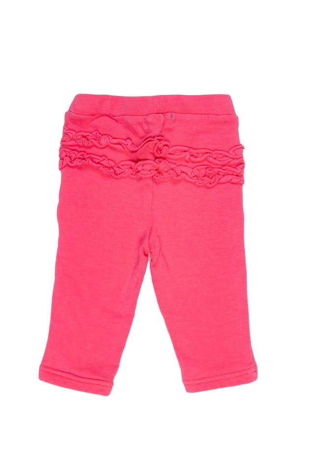 Set de 2 leggings, uno rosado fuerte con detalle en parte trasera, otro blanco con estampado animal printi. Ambos 95% algodón, 5% elastano - Harvest foto 2