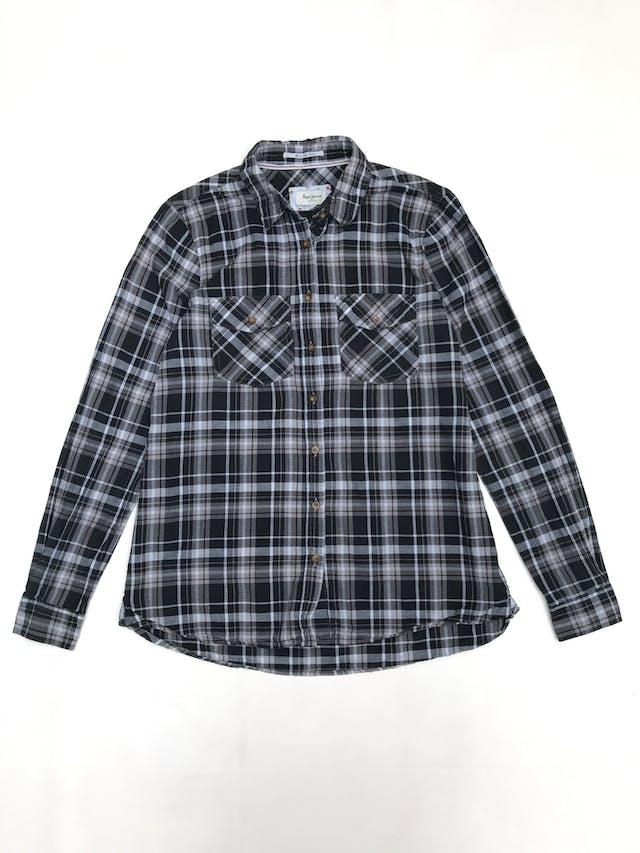 Blusa Pepe Jeans a cuadros negros y plomos, camisero con bolsillos delanteros foto 1