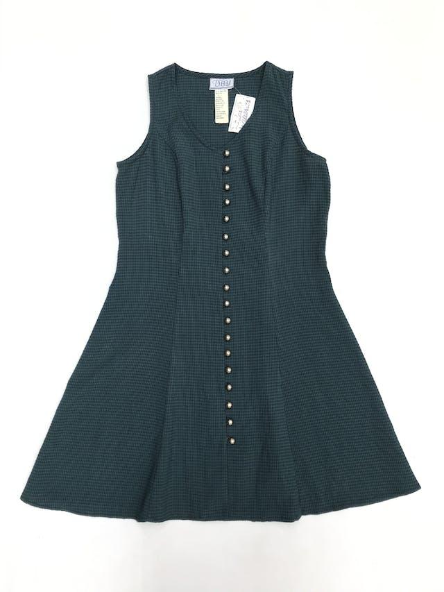 Vestido vintage verde con cuadritos azules, fila de botones, pasador en la espalda y falda en A. Largo 84cm foto 1