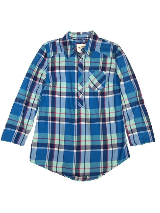 Blusa a cuadros con broches hasta la cintura, 100% algodón, manga larga regulable con broche. Nuevo con etiqueta  foto 1