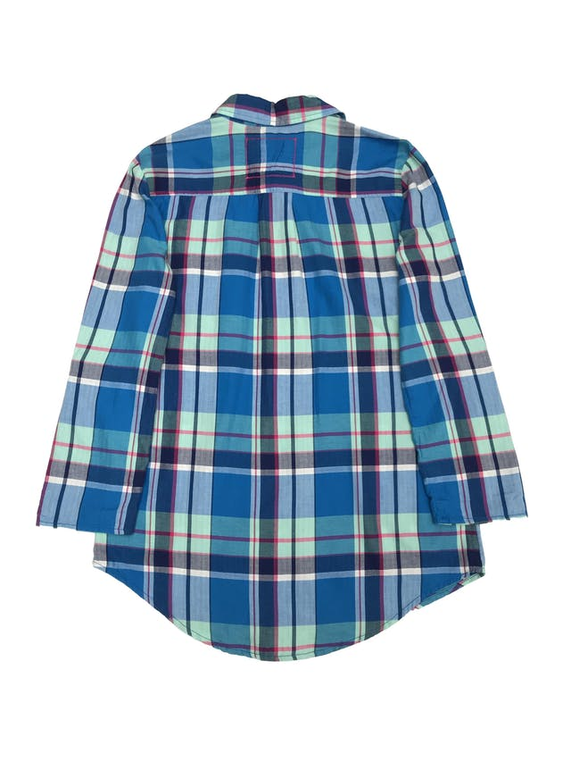 Blusa a cuadros con broches hasta la cintura, 100% algodón, manga larga regulable con broche. Nuevo con etiqueta  foto 2