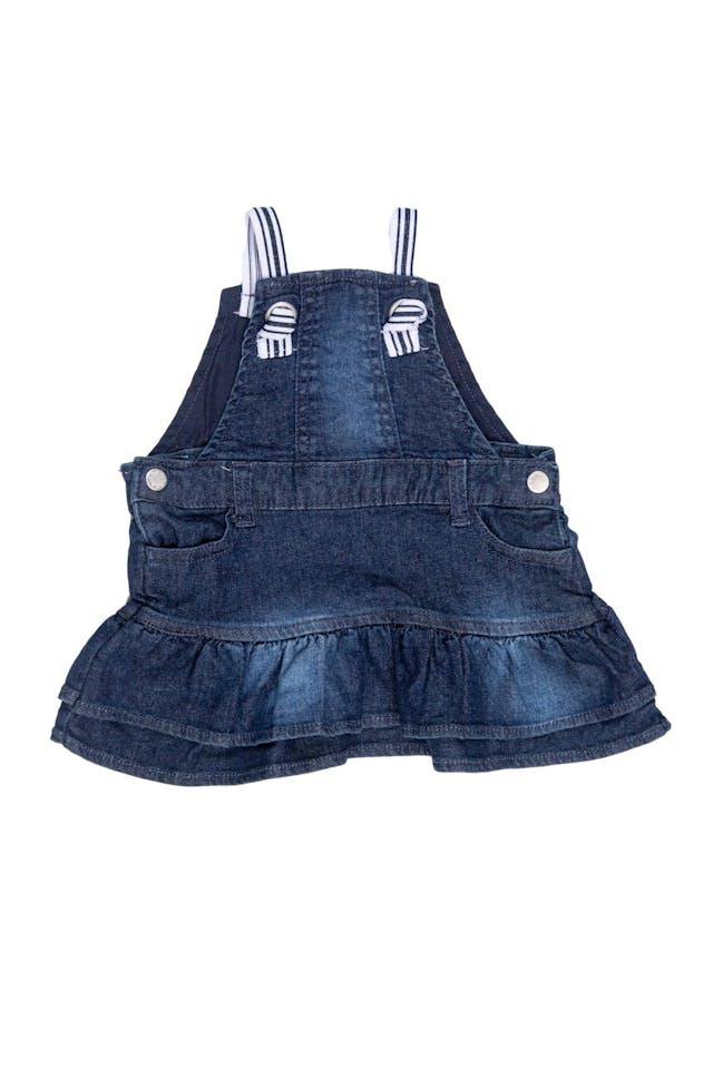 Vestido denim 99% algodón, 1% elastano. Tirantes elásticos, forrado en el pecho. Marca Italiana. - Prenatal foto 1