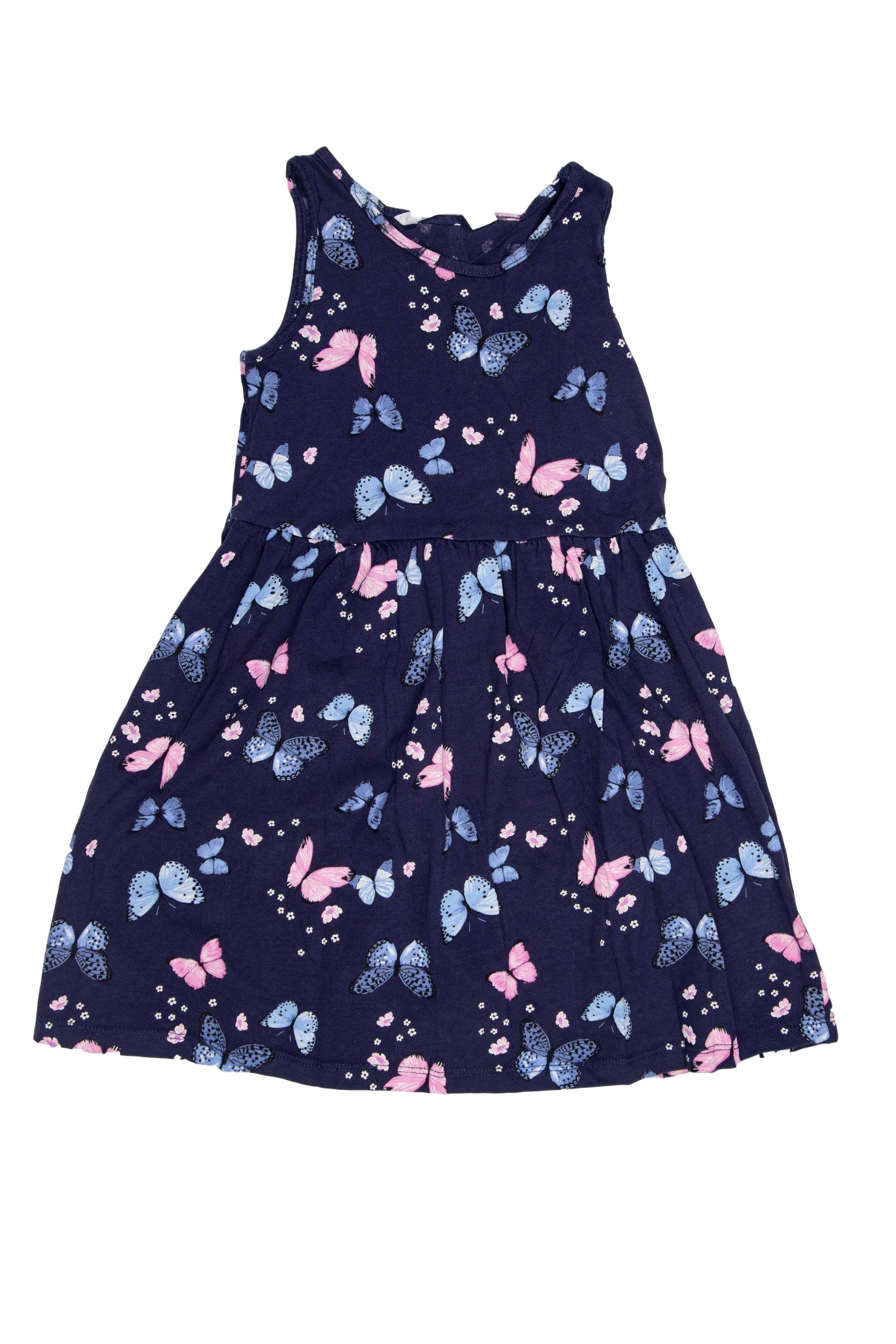 Vestido azul con mariposas y florcitas 100% algodón (etiqueta: 4 - 6 años) - H & M