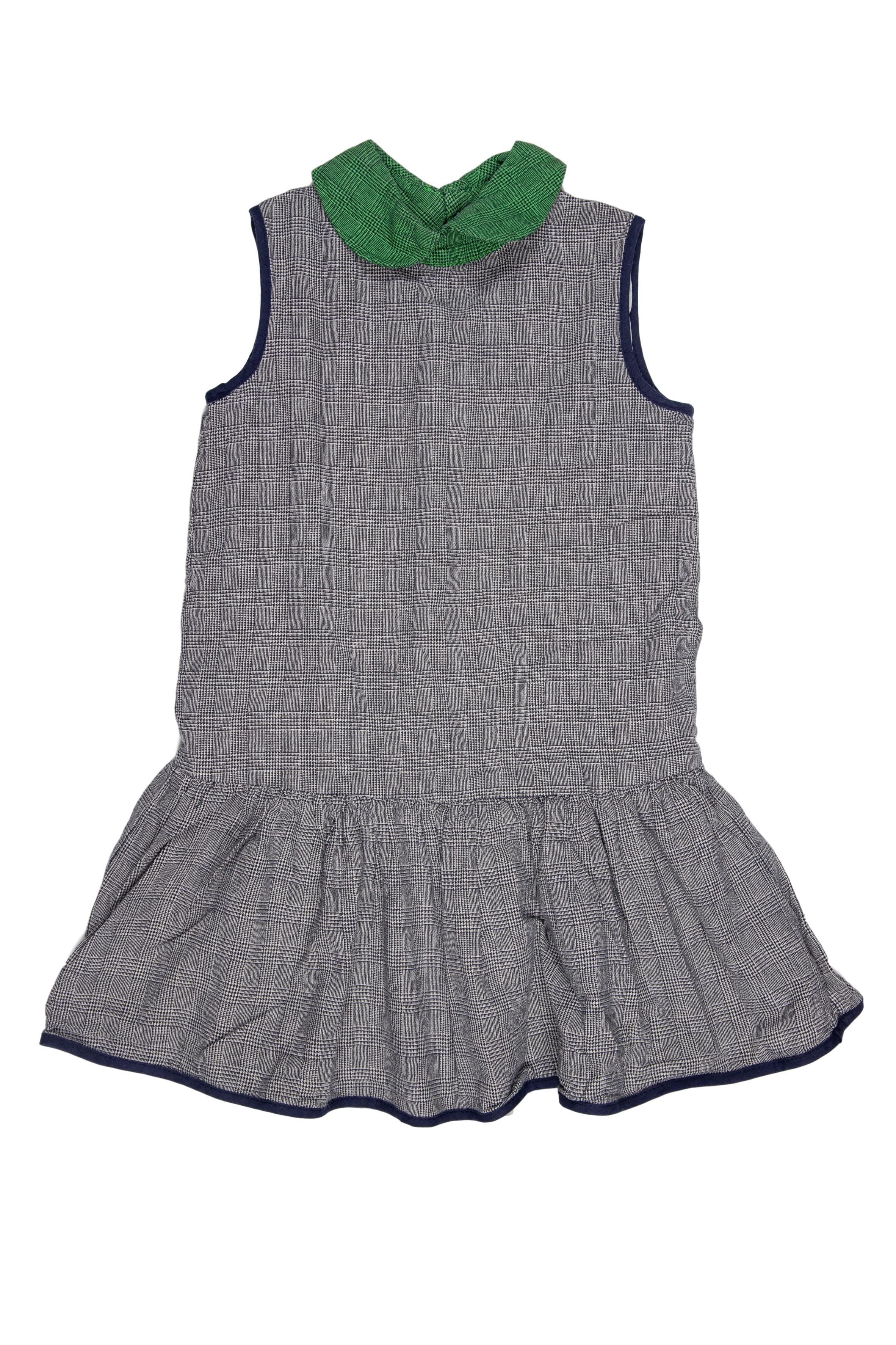 Vestido gris cuadritos con cuello verde y ribetes azules, forrado. Vestido 100% algodón, forro poliester. - EPK