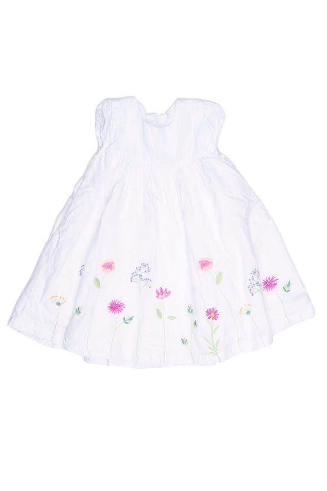 Vestido blanco con flores bordadas, forrado, 100% algodón. Viene con calzoncito de algodón estampado en juego. - Mothercare foto 1