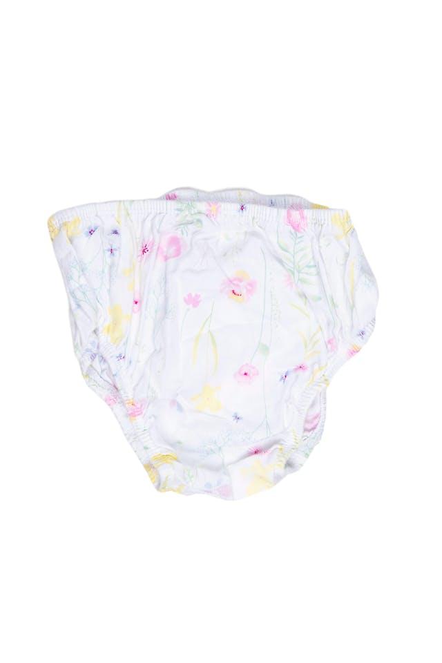 Vestido blanco con flores bordadas, forrado, 100% algodón. Viene con calzoncito de algodón estampado en juego. - Mothercare foto 2
