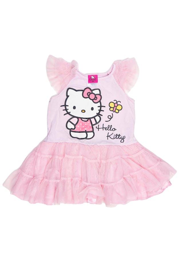 Vestido rosado 97% algodón, 3% spandex con tul. Viene con calzoncitoen en juego. Estado 7/10 depero hacemos una excepción por que sabemos que hará felíz a aluna mini - fan de Hello Kitty. - Hello Kitty By Sanrio foto 1