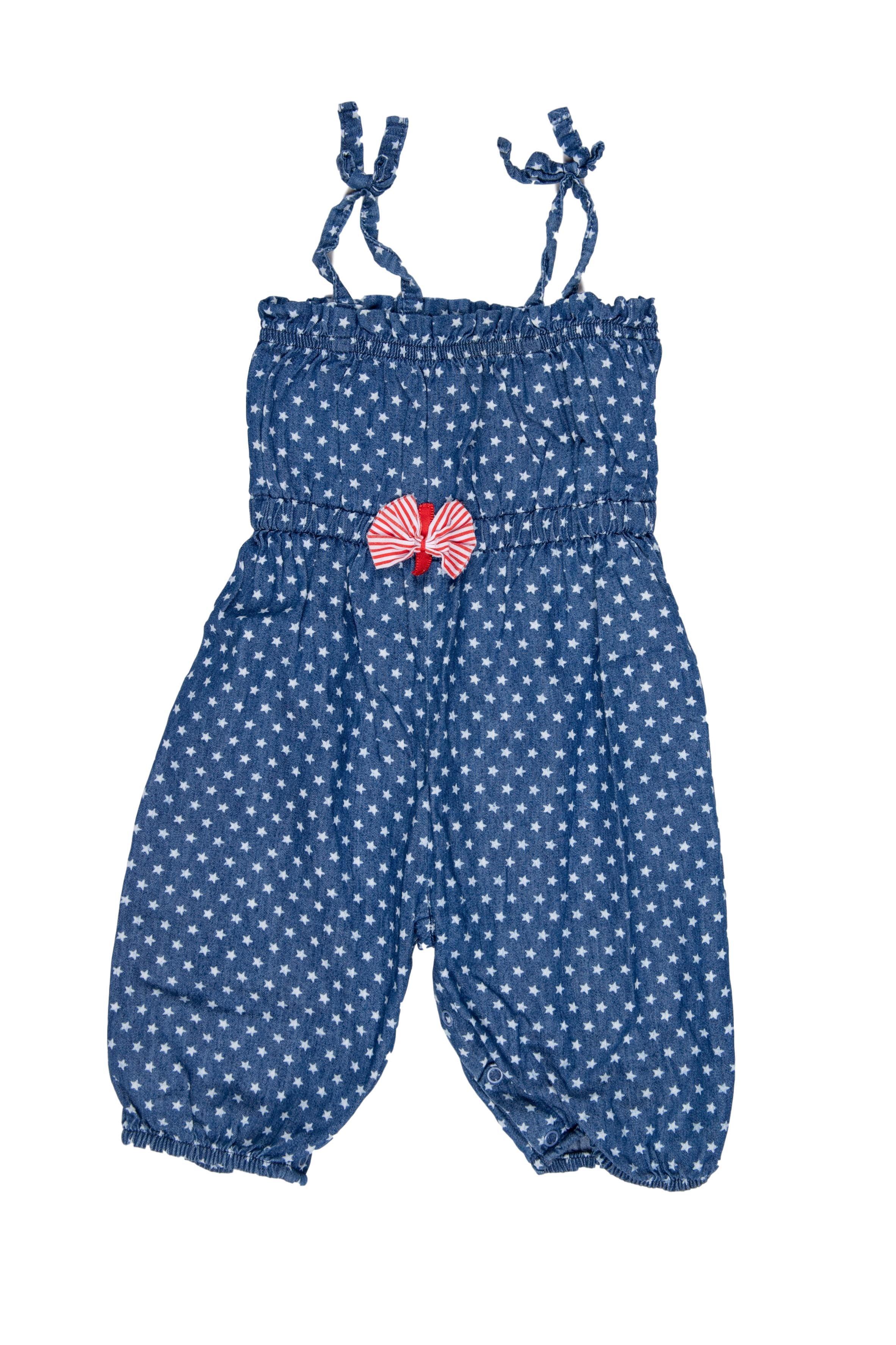 Enterizo pantalón de tiras, tela simil jean con estamapdo de estrellas. Tela suave - Petite Forumi