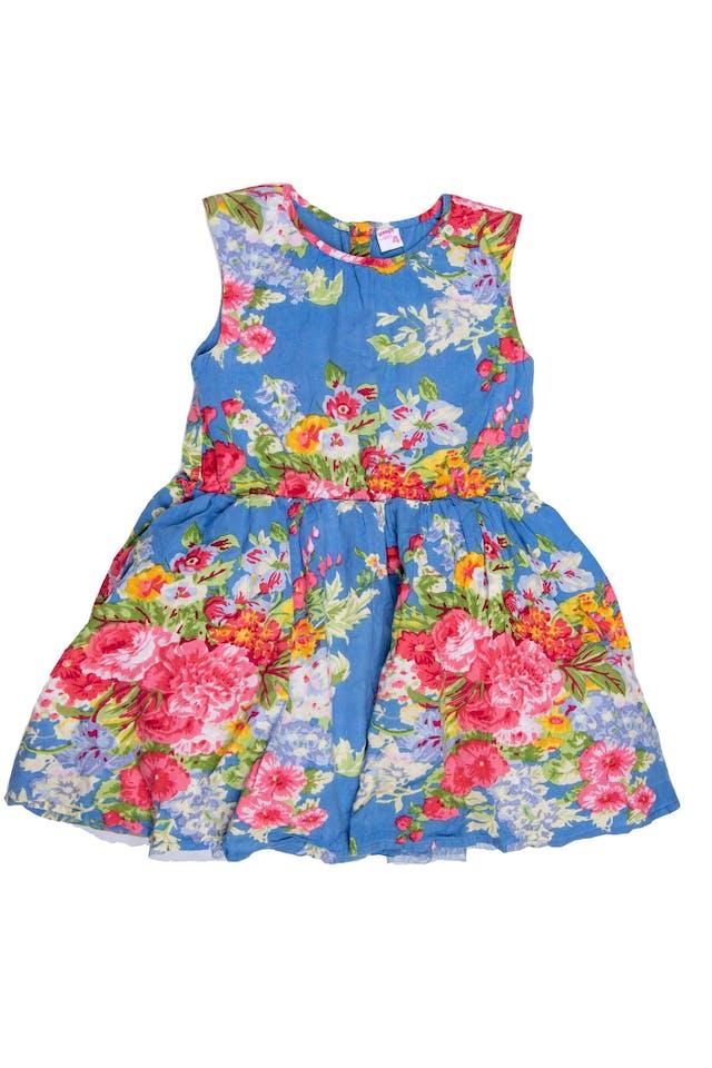Vestido azul floreado sin mangas, forrado, tul interno en falda. - Yamp foto 1