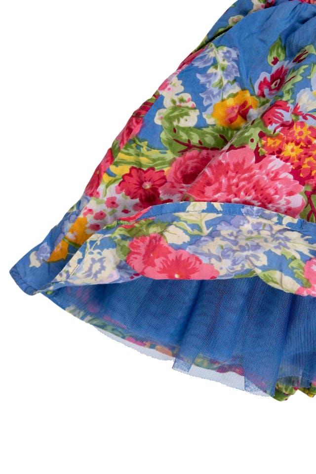Vestido azul floreado sin mangas, forrado, tul interno en falda. - Yamp foto 2