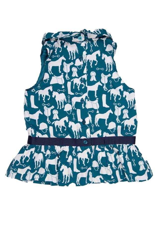 Blusa verde con estampado de caballos, tela tipo seda, forrada. hermosa - Janie And Jack foto 2