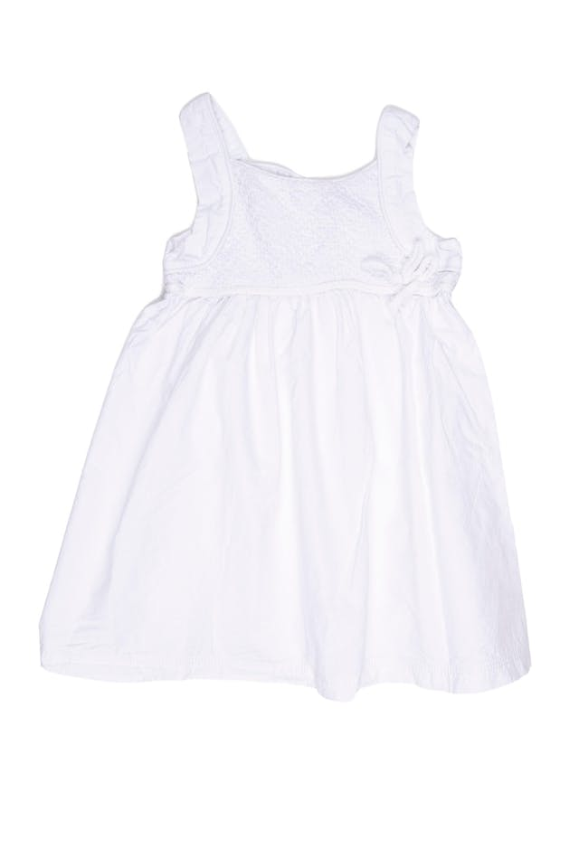 Vestido tiritas blanco, muy fresco. Pecho de tela texturada y espalda de tul. 100% algodón (talla europea 100) - Harvest foto 1