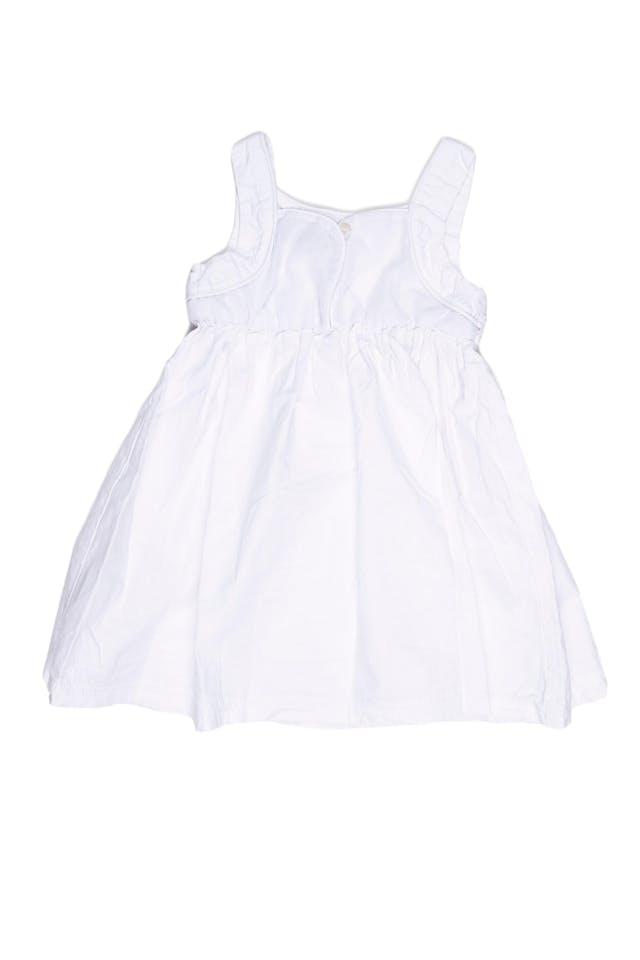Vestido tiritas blanco, muy fresco. Pecho de tela texturada y espalda de tul. 100% algodón (talla europea 100) - Harvest foto 2