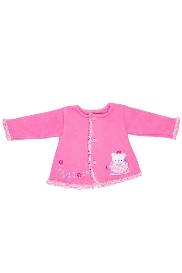 Saquito rosa grueso 100% algodón, con animalitos y florcita bordada - Evy Tony foto 1