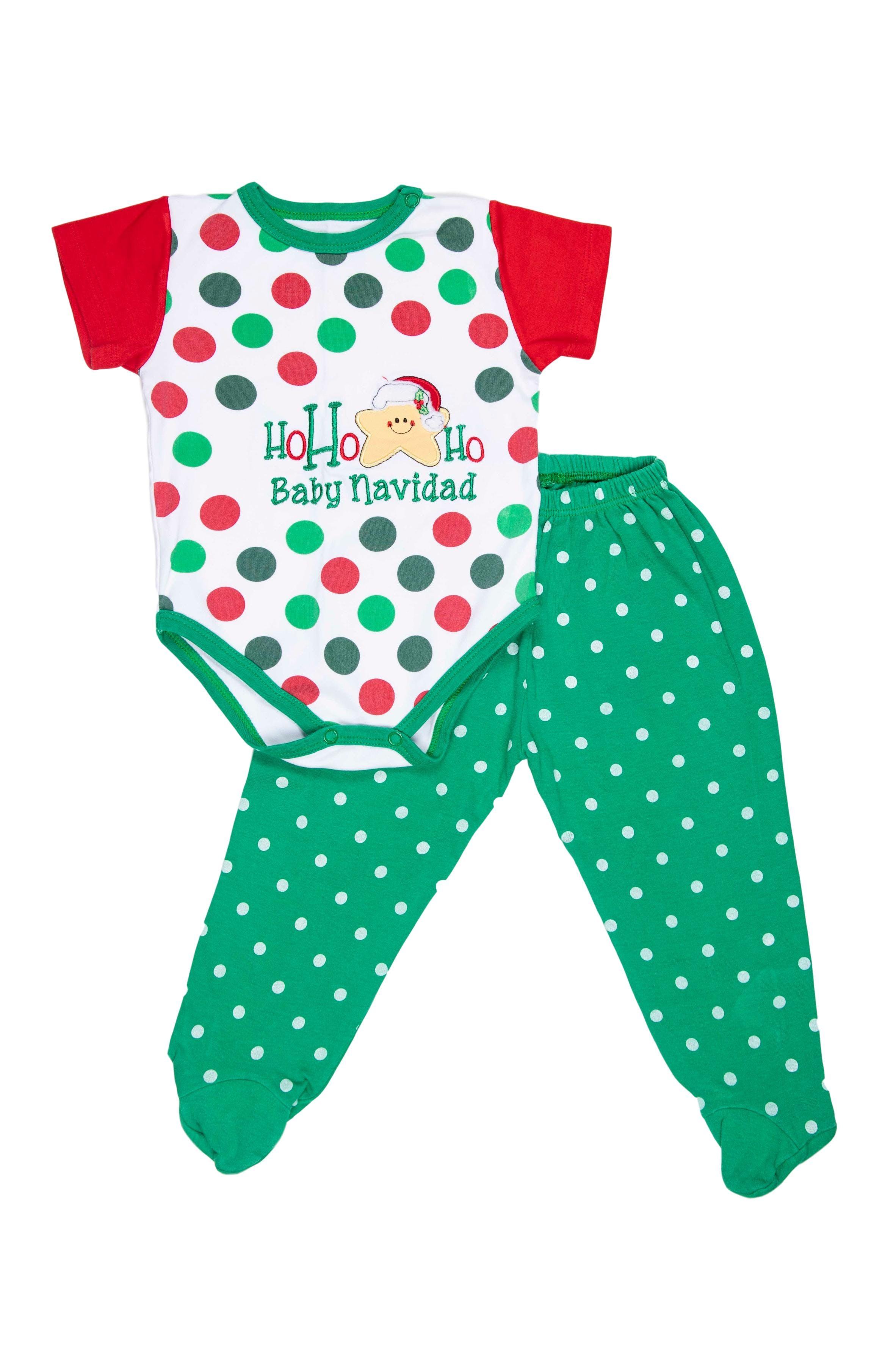 Conjunto body con bordado navideño y pantalón con pie 100% algodón. El pantalón da hasta 18 meses - Minimanitas